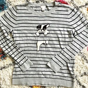 J Crew Factory Dog Striped Sweater Thin
